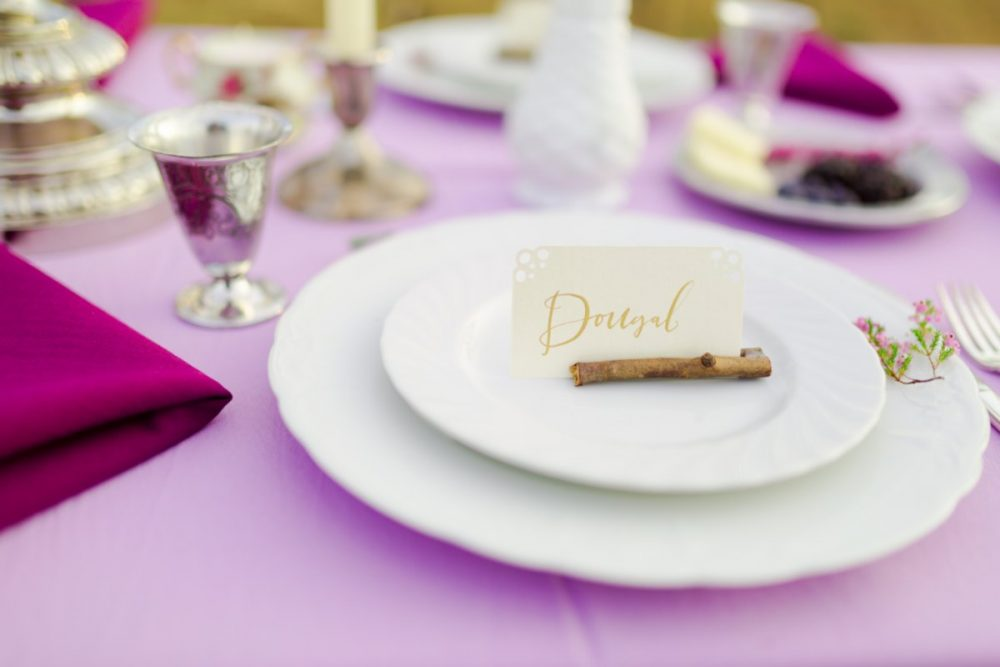 Dinner Salad Plate Rental with Namecard on Purple Tablecloth
